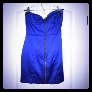 Strapless bustier blue bodycon minidress
